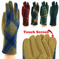 Womens Tartan Check Plaid Soft Winter Wool Gloves W/Button Accents Touch Screen
