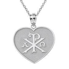 .925 Sterling Silver Christian Symbol Chi Rho Heart Shape Pendant Necklace