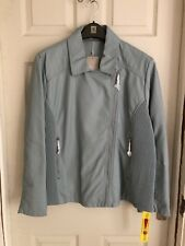 Brand New Anthology Ladies Baby Blue Faux Leather Biker Jacket Size 26