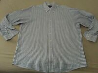 Mens Brooks Brothers Dress Shirt XL Blue White Stripes Cotton Button