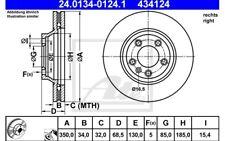 ATE Disco de freno x1 350mm ventilado para PEUGEOT VW 24.0134-0124.1