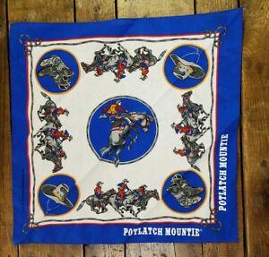 Vtg Blue Bandana Potlatch Mountie Rodeo Western Cowboy Equestrian Horse USA Made