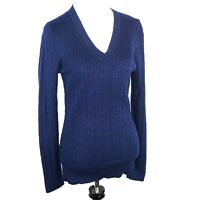Tommy Hilfiger Women's Sz Large V-Neck Long Sleeve Pullover Sweater Navy Cotton