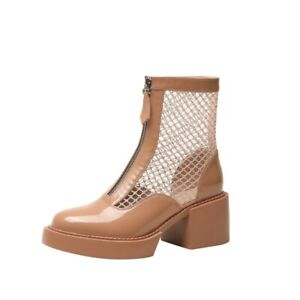 34-40 Women's Punk Summer Mesh Breathable Block Heel Casual Ankle Boots Shoes L