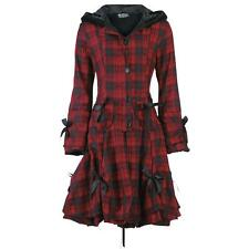 Poizen Industries Ladies Red Check Alice Coat Gothic Punk Emo Bow Hood Size 12 (medium)
