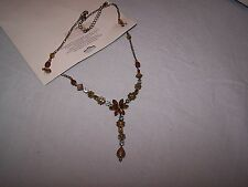 Bronze flowered necklace  Alloy, Amber, chain with flowers TU