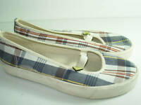 WOMENS BLUE TAN BROWN PLAID CANVAS ROXY BALLET FLATS CASUAL SHOES SIZE 8.5 M