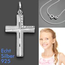 Premium Kreuz Anhänger Zirkonia zur Kommunion Konfirmation mit Kette Silber 925