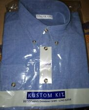 Men's Kustom Kit Chambrey Long Sleeve Denim Shirt Casual Work KK107
