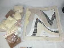 Vtg 1976 Rya Style Latch Hook Rug Kit Abstract Canvas Yarn & Punch Earth Tones