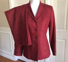 KASPER Women 2 PC Beautiful Apple Red  Linen Pant Suit Size 4 Petite