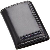 Genuine Tommy Hilfiger Black Leather Cambridge Trifold Passcase Wallet
