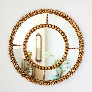 Gold Round Accent Wall Mirror, Decorative Round Mirror for wall, Peruvian Round