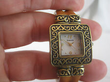 Women's CHICO'S MOP Mother-of-Pearl Antique Bangle Leather Watch CH-255 *11