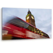 Red Bus passing Big Ben in London Luxury Framed Canvas Wall Art Picture Print A0