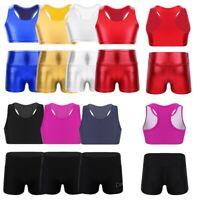 2PCS Kids Girls Sport Outfit Crop Top + Booty Shorts Dancewear Gymnastic Leotard