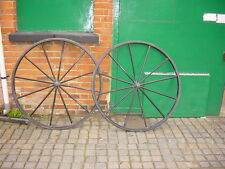 "pair of 12 spoke steel carriage wheels 45"" dia rims and clincher rubber tyres"