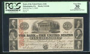 1840 $500 THE BANK OF THE UNITED STATES PHILADELPHIA, PA OBSOLETE PCGS VF-30