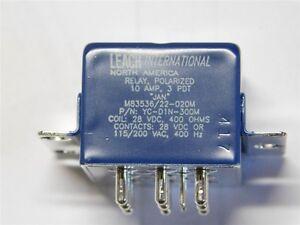 1 Leach Esterline M83536/22-020M / YC-D1N-300M 28V Coil  3PDT 10A Military Relay