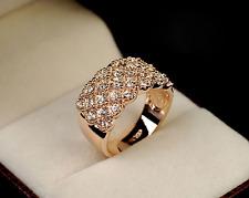 Women Luxury Shine Full Rhinestone Ring Stainless Wide Band Gold/Silver Rings TM