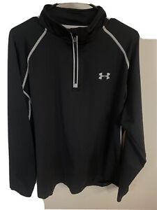 Under Armour Quarter Zip 1/4 Long Sleeve Shirt Pullover XL Black