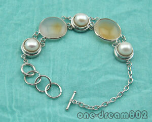"""8"""" 23mm agate 11mm round pearl bracelet"""