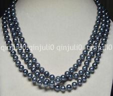 "Long 60"" Necktie Necklaces 8mm Black Grey South Sea Shell pearl Strands JN579"