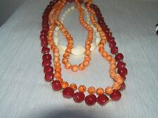 Vintage Lot of 3 Cream Cranberry & Mottled Orange Plastic Bead Necklaces
