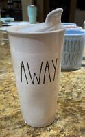 Rae Dunn By Magenta - LL AWAY w Lid - White Ceramic Travel Coffee Mug