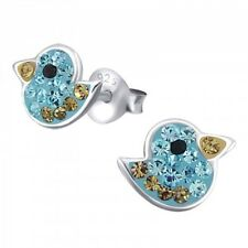 Childrens Girls 925 Sterling Silver Bird Crystal Stud Earrings Aqua/Gold - Pouch