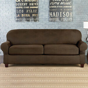 Sure Fit Suede Chocolate vegan leather Sofa Slipcover 2 cushion style t or box