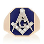 Blue Lodge Yellow Gold Diamond Ring - 14k Round Cut .12ctw Vintage Masonic 8 3/4
