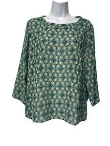 Cabi 3069 Women's Size M Green Jade Leaf Print 3/4 Sleeve Blouse