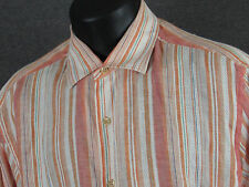 Men's TOMMY BAHAMA LS Orange Striped Linen Shirt + Beach Relax Bright - M