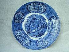 4 Rare Antique~Flow Blue Unusual Pattern Transferware Impression Marked Plates