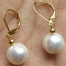 11-12MM SOUTH SEA WHITE PEARL DANGLE EARRING 14K GOLD Natural AAA Jewelry TwoPin