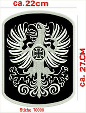 Adler mit Eisernes Kreuz Rückenpatch Aufnäher  100% Echtleder