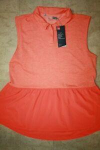 UNDER ARMOUR Women's HeatGear Sleeveless Golf Polo Shirt NWT Orange LARGE
