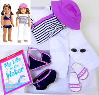 American Girl Doll 2in1 BEACH OUTFIT Swimsuit Shoes Sailor Pants Hat Book AG BOX