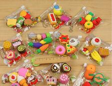4 Pcs Stationery Prizes Simulation Food Bags Cake Erasers Stationery Mini Eraser