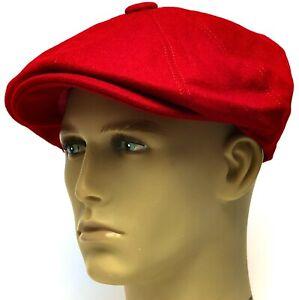 Peaky Blinders Hat Newsboy Gatsby Cap Red Santa Flat Baker Boy Bakerboy 70% Wool