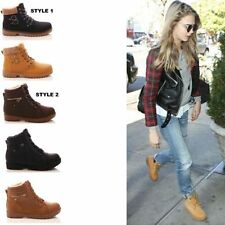 """Synthetic Flat (less than 0.5"""") Block Lace Up Women's Boots"""