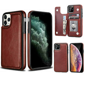 For iPhone 11 Pro XS MAX XR 7 8 Plus Leather Card Pouch Case Wallet Stand Cover