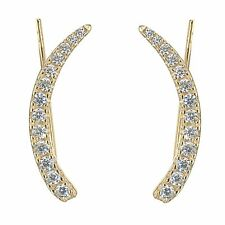 Sterling Silver Gold Overlay channel set CZ Ear Climber Crawler Earrings 25mm