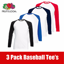 3 Pack Fruit Of The Loom Men's Long Sleeve Baseball T-Shirt Tee Shirt Plain Tee