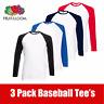 3 Pack Fruit Of The Loom Men's Long Sleeve Baseball T-Shirt Tee Shirt Plain Tee