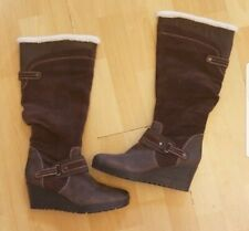 Earth Wedge Boots Knee High Brown Suede Leather Size 7.5 EUC