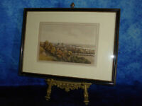 Antique 1795 Hand coloured engraving VIEW OF GREENWICH & UP THE RIVER Etching