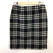 Kate Hill Women's Size 10 Petite Black White Plaid Pencil Skirt Wool 0137