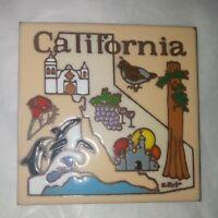 """Vtg Earthtones state of """"California"""" Ceramic Tile Trivet Wall Hanging 2006"""